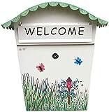 H.aetn Buzón Buzón: Hoja galvanizada, Creativo Pastoral Pintado al Aire Libre, Bandeja de Entrada Impermeable, Adecuado para Villas, Patios, Casas, buzones de Montaje en Pared (Color: A)
