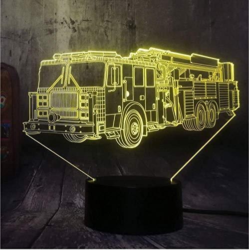 Cool Fire Engine Voiture 3D LED 7 Couleur lampe de Poche Nuit Lumière Chambre Lampe de Bureau Décor À La Maison Enfant Enfant Noël Halloween Jouet Cadeau