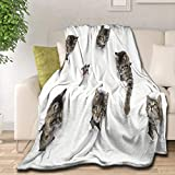 Samantabhadra with 3D Animal Print Cute Cat Face Velvet Plush Throw Blanket(50'x40' for Kids) Super Soft and Cozy Fleece Blanket Perfect for Couch Sofa Or Bed
