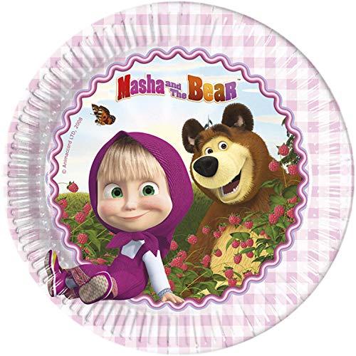 2594; Pack 8 Platos Masha y el Oso; prodcuto de cartón, diametro 23 cm; Ideal para Fiestas y cumpleaños