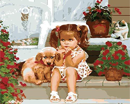 WDNEJKJH Pintura por números para Adultos Chica Perro Animal DIY Pintura por Números - para Niños y Principiantes con Pinceles y Pinturas para la Decoración De La Casa - 40x50 cm (Sin Marco)