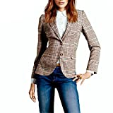 Aancy Women Plaid Blazer Plaid Elbow Patches Two Button Slim Fit Blazer Suit Casual Basic Jacket