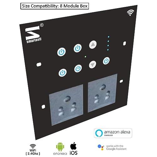 smarteefi 8 Module Square Smart Switch Board, WiFi Smart Switches, Smart Plugs, Smart Fan Speed Control, Compatible with Alexa and Google Home (Black)