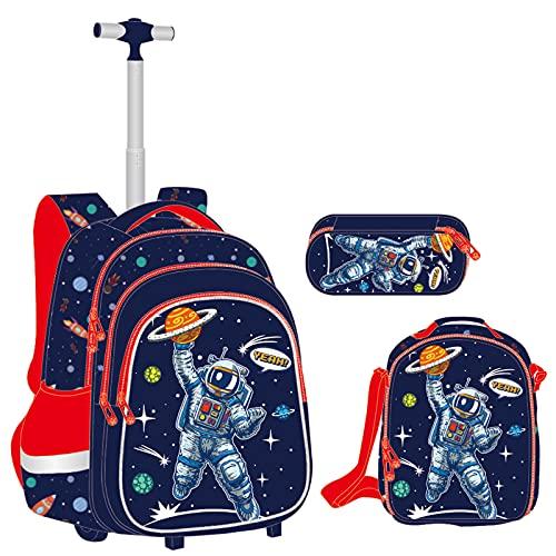 Rucksack Jungen Schulranzen Trolley, Kinder Rucksack mit Rädern Schultasche mit Lunch Tasche Mäppchen Cartoon Gedruckt Hartschalen Schulrucksäcke Set für Grundschule Studenten(Astronaut)