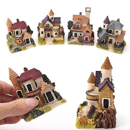 Hearsbeauty Miniatur-Haus, Feengarten, Mikro-Landschaft, Heimdekoration, Kunstharz, zufällige Farbe und Muster