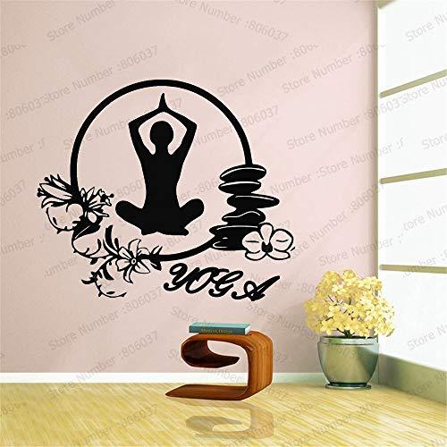 wZUN Pegatinas de Pared de Vinilo de Yoga Estilo de meditación decoración del hogar Pared Estudio de Yoga Fitness Vinilo de Pared Arte calcomanía 66x57cm