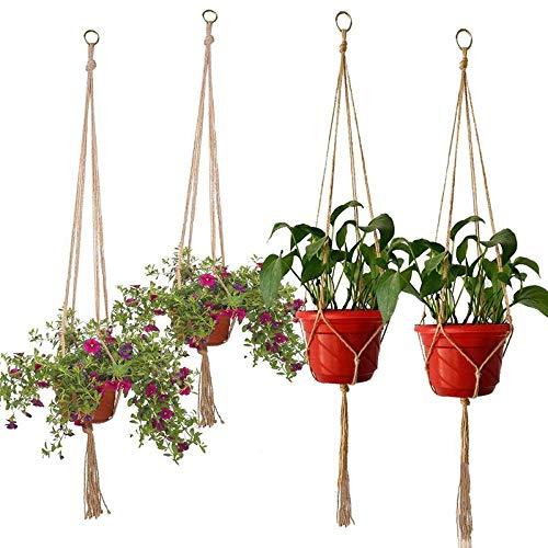 Trendy household hangende plantenmand macramé-hangers hangende planter basket manden vlechten craft home decor bloempot houder muur tuin decoratie bloempot mand hangend touw