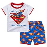 Meteora Boys Short Pajamas Toddler Kids Super Hero PJS Snug Fit Sleepwear Summer Clothes Shirts (Superman, 4-5T)