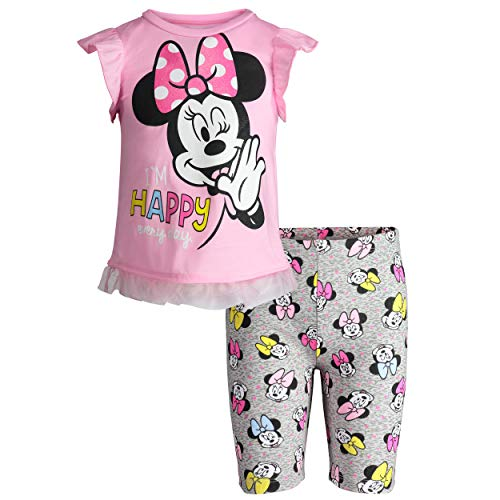 Disney Minnie Mouse Baby Girls' High-Low Ruffle Tunic & Bike Shorts Outfit Set (Light Pink, 18 Months)