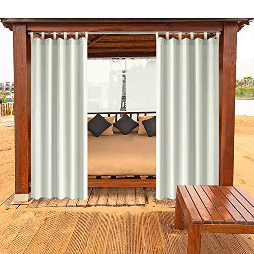 Outdoor Vorhänge Gartenlauben Balkon-Vorhänge Gardinen Verdunkelungsvorhänge Vorhang Wasserdicht Mehltau beständig für Pavillon Strandhaus 1 Stück,132x215cm,cream-weiß