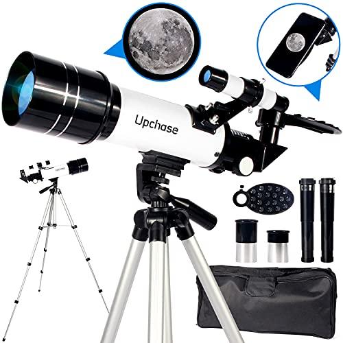 Upchase Telescopio Astronomico,Portátil y Potente Refractor Telescopio,400/70mm Zoom HD,Ajustable Trípode, Adaptador Móvil, Apto Adultos, Niños y Principiantes,Observer la Luna,Aves,Regalo para Niños