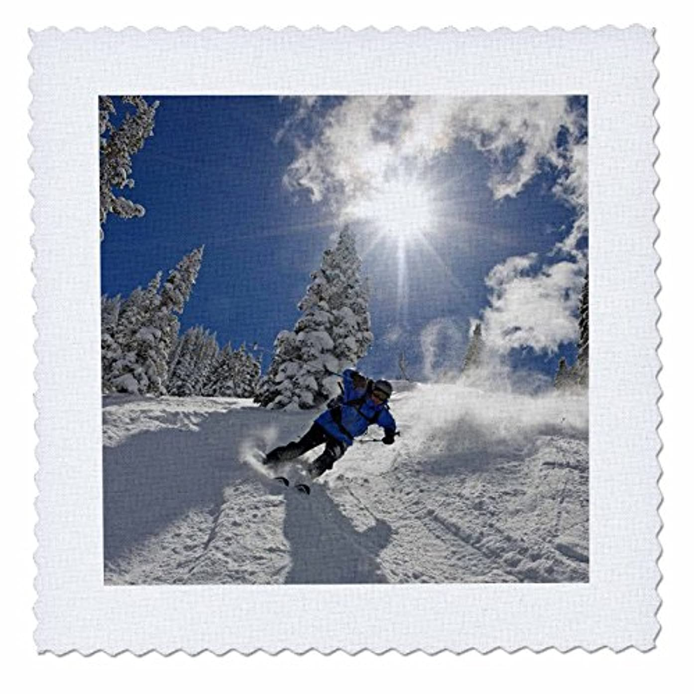 3dRose qs_94773_2 Wasatch Backcountry Skiing, Wasatch Mountains, Utah-US45 HGA0245-Howie Garber-Quilt Square, 6 by 6-Inch