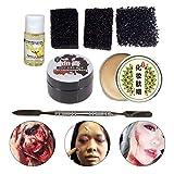 PIXNOR 7Pcs Kit de Maquillaje de Halloween Efectos Especiales Profesionales Maquillaje de Escenario Cicatrices de Heridas Falsas Cera Y Gel de Sangre con Herramientas