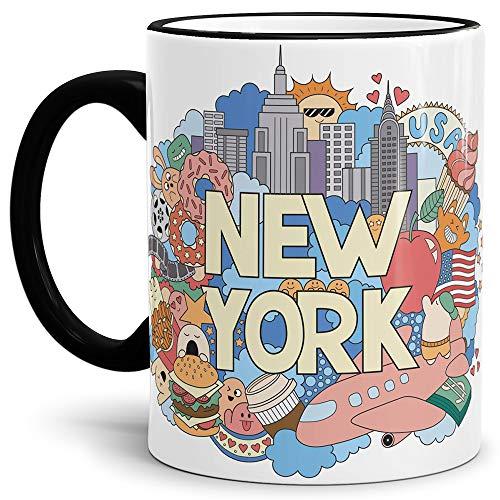 New York Tasse Comic-Style Rand und Henkel Schwarz - Kaffeetasse/Mug/Cup - Qualität Made in Germany
