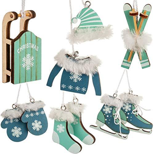 alles-meine.de GmbH 10 TLG. Deko Set - Winter & Weihnachten - Farbwahl - Ski / Schlittschuhe / Schlitten - türkis blau & weiß - aus Holz - Miniatur / Diorama - Anhänger - Weihnac..