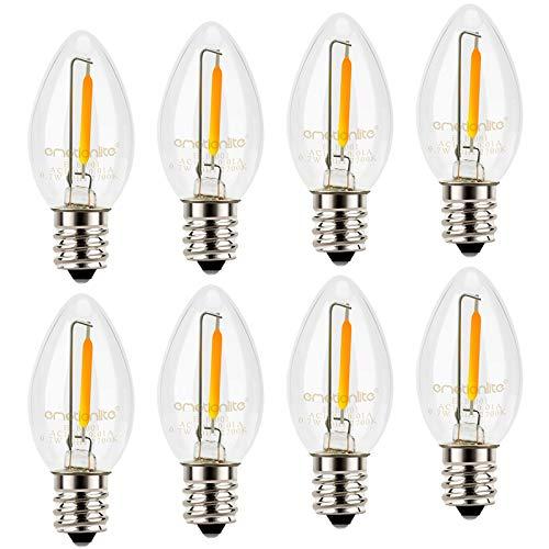 Night Light Bulbs, C7 Candelabra Bulb, Emotionlite LED Light Bulbs with E12 Chandelier Base, 0.5 Watt (4W 5W 6W 7W Incandescent Equivalent), 50LM, Warm White, 2700K, Clear, 8 Pack