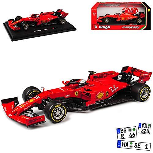 Ferrari SF90 Nr 5 Sebastian Vettel Saison 2019 Matt Rot mit Sockel 1/18 Bburago Modell Auto mit individiuellem Wunschkennzeichen