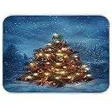 Árbol de Navidad con luces en invierno tapete de secado de platos de 40,6 x 45,7 cm almohadilla de secado escurridor estera protector para encimeras de cocina