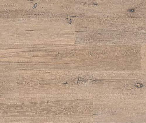 HORI® Parkett 400 Eiche Lyon Landhausdiele 1-Stab rustikal handgehobelt geräuchert mit Fase weiß-geölt I für 52,24 €/m²