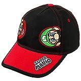 Nintendo Super Mario and Luigi Black Cotton Baseball Cap – Size Boys' 4-14 [6014]