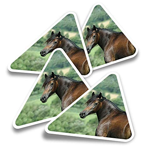 Vinyl Triangle Stickers (Set of 4) - Brown Welsh Cob Horse Pony Fun Decals for Laptops,Tablets,Luggage,Scrap Booking,Fridges #3142
