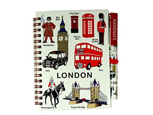 Middelgroot notitieboek en bijpassende pen samenstelling met alle vormgeving van Londen - Londen Souvenir notitieblok met afbeeldingen op de voorkant van het notitieboek en op de pen, afbeeldingen van een busse, taxis, koninklijke Leibgardist, Towerbrug, Big Bens, een telefooncel, een brievenbus en een beefeater.