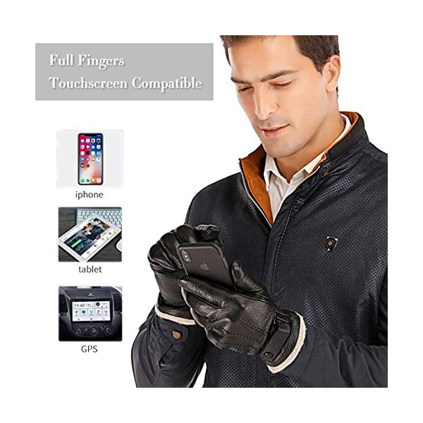 Acdyion Touchscreen Men's Genuine Leather Gloves 2