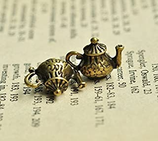 12latón tono Metal tetera charms 16x 12mm bronce (bronce) tetera doble cara encanto (CB060)