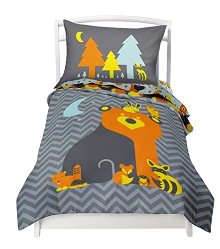 """Twin Reversible Woodland Creatures Duvet Cover Set with 1 Reversible Pillowcase for Kids Bedding -Double Brushed Ultra Microfiber Luxury Bed Sheet Set By Where The Polka Dots Roam (66"""" L X 86"""" W)"""