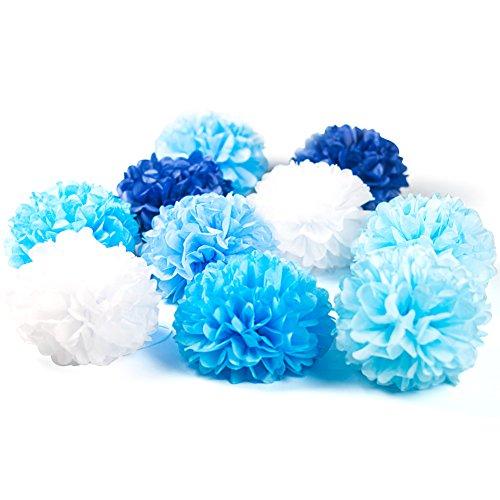 SUNBEAUTY 10er Set 20cm farbige Seidenpapier Blumen Pompoms Ball Party Geburtstag Feier Dekoration