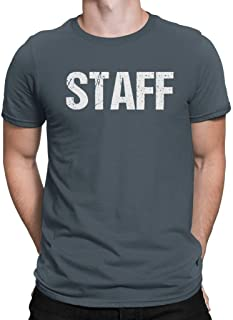 NYC FACTORY Official Neon Staff T-Shirt Front & Back Print Mens Event Shirt Yellow Tee