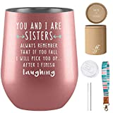 You & I Are Sisters Tumbler - Fancyfams - 12 oz Stainless Steel Wine Tumbler - Sister Birthday Gifts from Sister - Sister Gifts for Woman - Sister Gifts (Rose Gold)