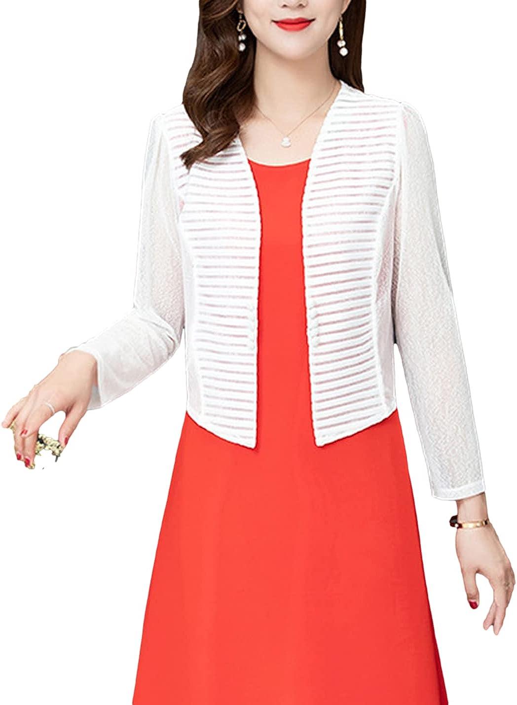 PUWEI Women's Casual Sheer Shrug Open Striped Front Cropped Bolero Cardigan Tops