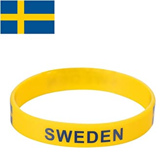 TDoperator Sweden Flag Silicone Bracelet FIFA World Cup 2018 For Soccer Fan Unisex Design Soft and Durable Wristband for National Football Supporters Fans Fashion Sport Wrist Strap Souvenir Gift