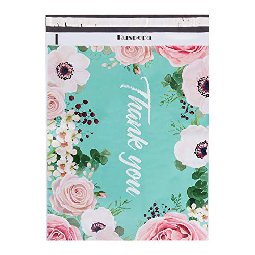 RUSPEPA 14.5x19 Inch Poly Mailers Shipping Bags Thank You Notes Flowers Surrounded Teal Poly Mailers 3 Mil Heavy Duty Self Seal Mailing Envelopes - 50 Pack