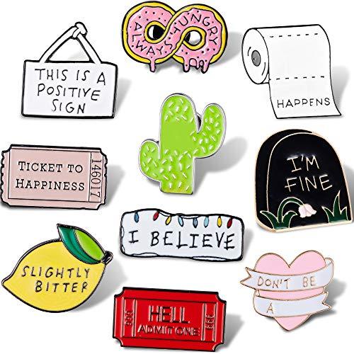 WILLBOND 10 Stücke Nette Emaille Brief Brosche Karikatur Emaille Nadel Set Sagen Emaille Nadel Abzeichen für Kleidung Taschen Jacken Zubehör DIY Handwerk