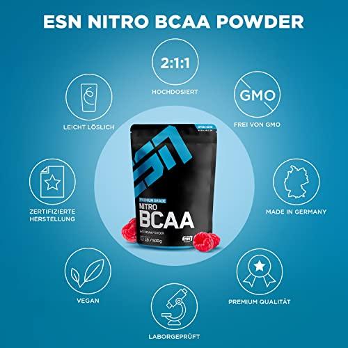 ESN Nitro BCAA Powder, Pro Series, Raspberry Ice-Tea, Beutel mit Dosierlöffel, 1er Pack (1 x 500g) - 5