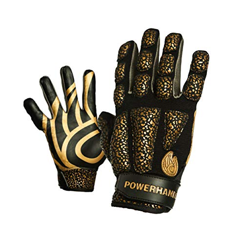 POWERHANDZ Weighted Anti-Grip Football Gloves for Strength and Resistance Training - Improve Dexterity and Arm Strength- Home Workout - Small- 0.5 lb