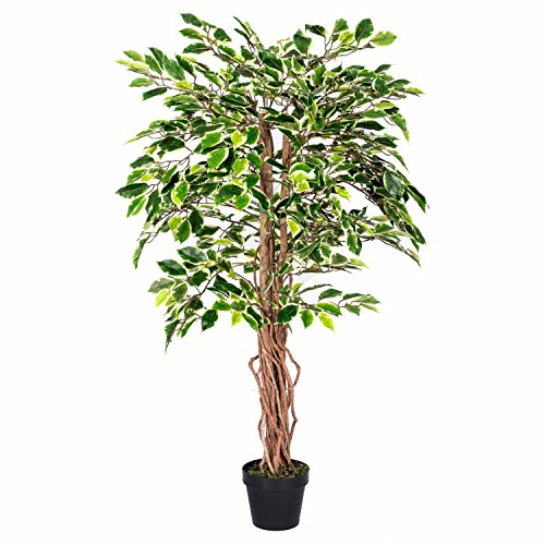 Homescapes 4 Feet Variegated Ficus Tree With Real Wood Stems and Lifelike Leaves Replica Artificial...