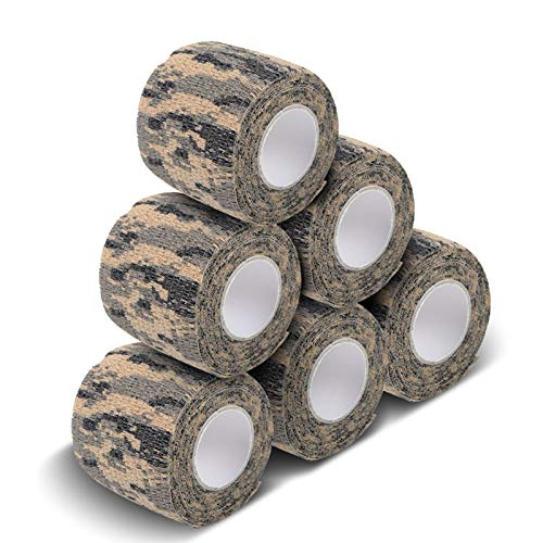 AIRSSON 5 Roll Camouflage Tape Military Camo Stretch Bandage for Gun Rifle Camping Hunting 2' x5 yds Self-Adhesive (ACU)