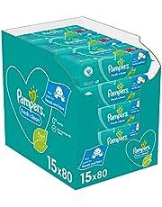 Pampers Fresh Clean Billendoekjes, 1200 Babydoekjes, met Frisse Geur, Ook Voor Handen en Gezicht, Dermatologisch Getest (15 x 80 Doekjes)