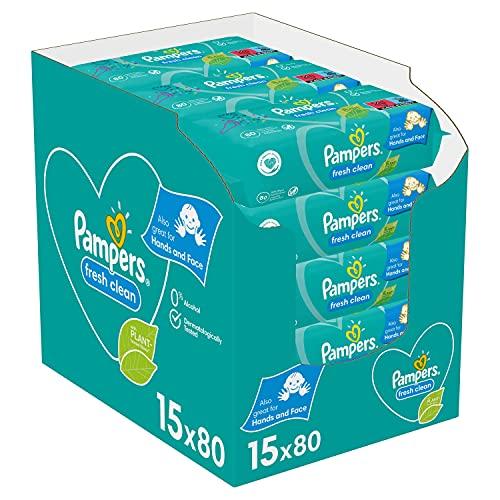 Pampers Lingettes Fresh Clean, Au Parfum Rafraîchissant et Testées Dermatologiquement, Lot de 15x80 Lingettes (Total 1200 Lingettes)