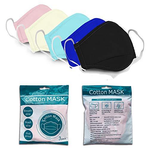 Face Cotton Washable Reusable Design For Men Women Fashion(3pcs-Cotton3-maxcolor)