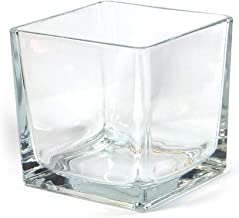"""Vasefill 4-Pack Clear Square Glass Vase Tapered - Cube 6 Inch 6"""" X 6"""" X 6"""" - Six-inch Vases 6x6x6"""
