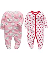 CHUBBYBUN BABY 2-Pack Cotton Snap Footed Romper Jumpsuit Sleep and Play (Pink 9M)