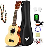 Everjoys Soprano Ukulele Beginner Pack-21 Inch w/Rainbow String Free Online Lesson Gig Bag Fast Learn Songbook Digital Tuner Pick All in One Kit