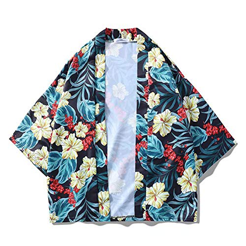 Metermall Fashion For Men Women 3/4 Sleeve Shirt Lovers Loose Kimono Vivid Flower Printing Outerwear