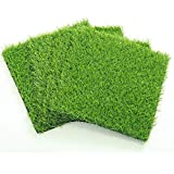 ECO MATRIX Artificial Grass Placemats Fake Grass Suqare Mat Tiles Small Synthetic Grass Patch Lawn Turf for Miniature Ornament Garden Dollhouse DIY Decoration (4 Pcs 12''x 12'')