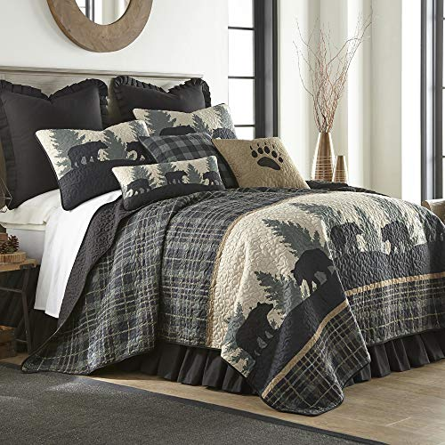 King Bedding Set - 3 Piece - Bear Walk Plaid by Donna Sharp - Lodge Quilt Set with King Quilt and Two King Pillow Shams - Machine Washable