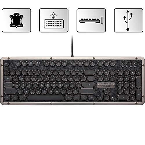 AZIO Retro Classic Gunmetal mechanische USB Tastatur, vintage look mit deutschem Layout